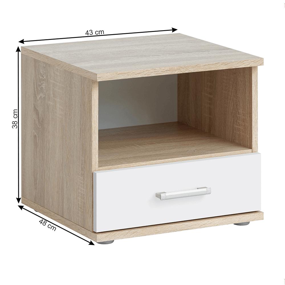 Noční stolek, dub sonoma / bílá, EMIO TYP 05, TEMPO KONDELA