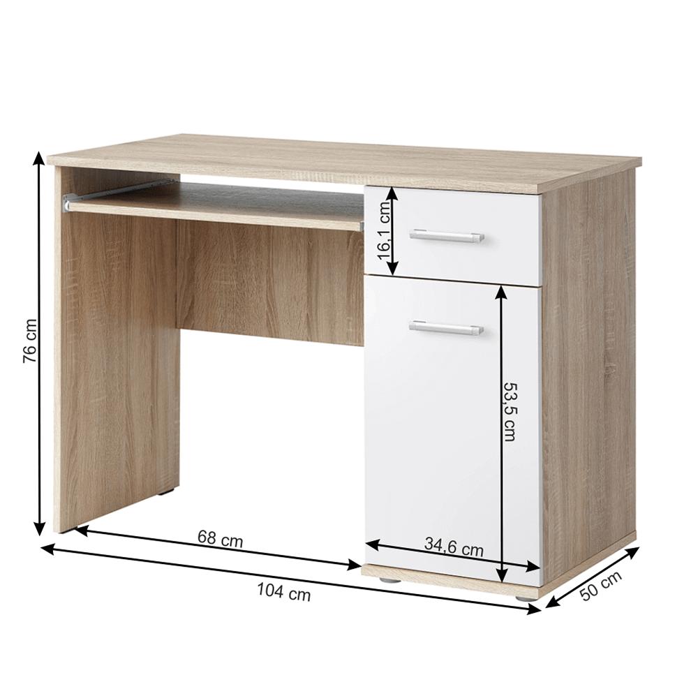 PC stůl, dub sonoma / bílá, EMIO TYP 6, TEMPO KONDELA