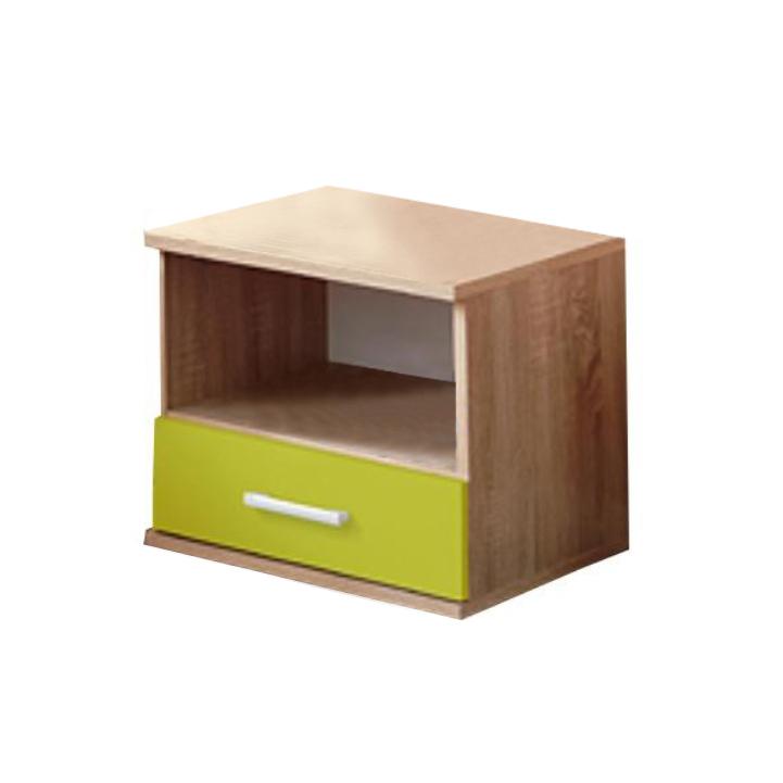 Nočný stolík, dub sonoma/zelená, EMIO Typ 05