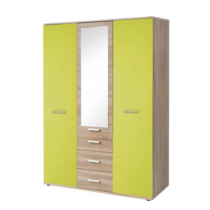 Szekrény 3-ajtós, sonoma tölgyfa/zöld, EMIO 01 TÍPUS