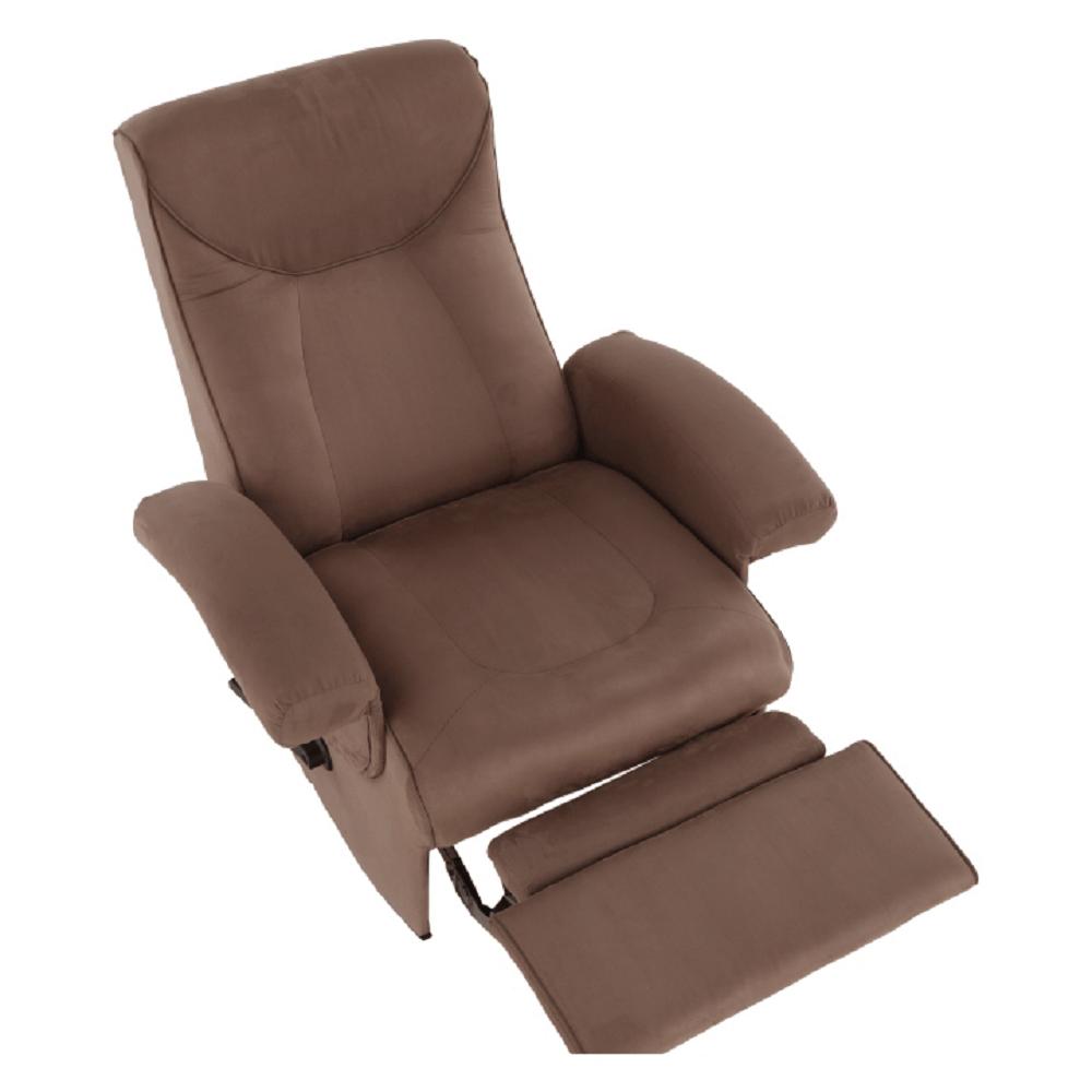 Relaxační křeslo, s elektrickou funkcí vibrování, hnědá látka, SUAREZ, TEMPO KONDELA