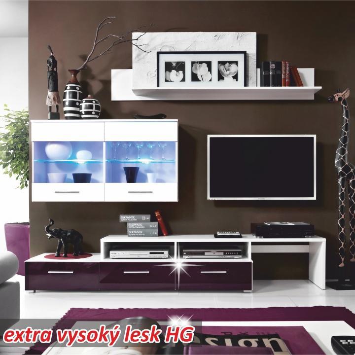 Obývacia stena, biela/ fialový vysoký lesk, SARAH