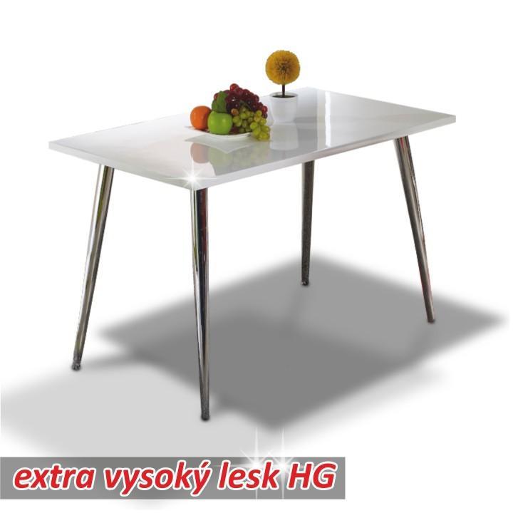 Étkezőasztal 120x70, MDF+króm, extra magas fényű HG, PEDRO