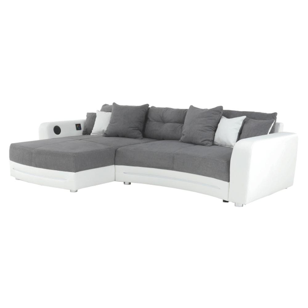 Colțar cu accesorii electronice, eco albă /textil gri , LUXLAREDO