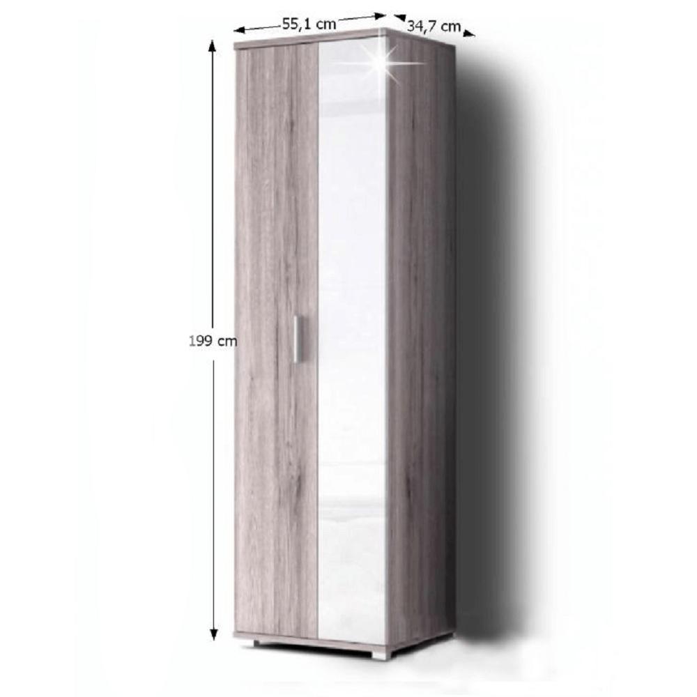 Dvoudveřová skříň, dub Canyon / bílá extra vysoký lesk, RACHEL TYP 1
