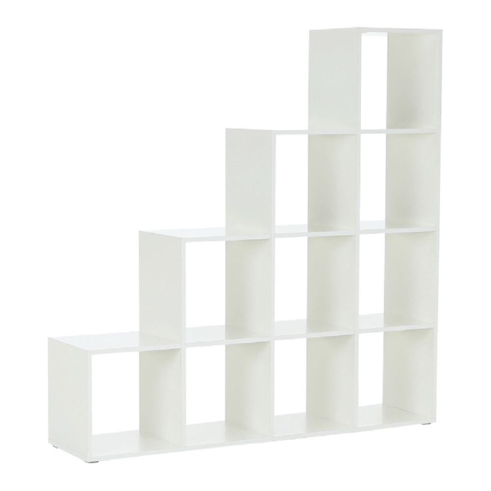 Regál pyramida, bílý, DTD laminovaná, NORAH, TEMPO KONDELA