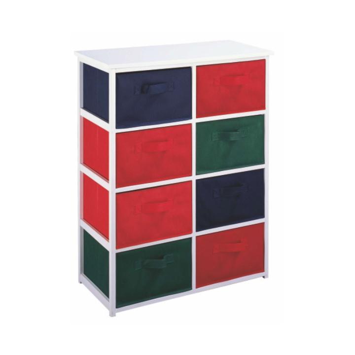 TEMPO KONDELA Viacúčelová komoda s úložnými boxami z látky, biely rám/farebné boxy, COLOR 95