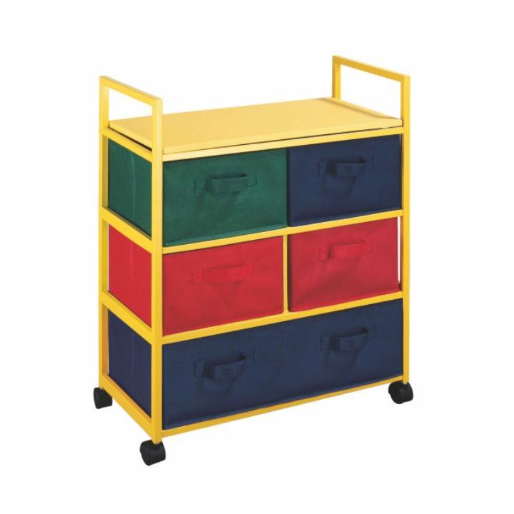 TEMPO KONDELA Viacúčelová komoda s úložnými boxami z látky, žltý rám/farebné boxy, COLOR 92
