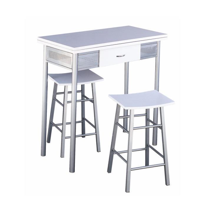 Barový set, stôl + 2 stoličky, biela/strieborná, HOMER