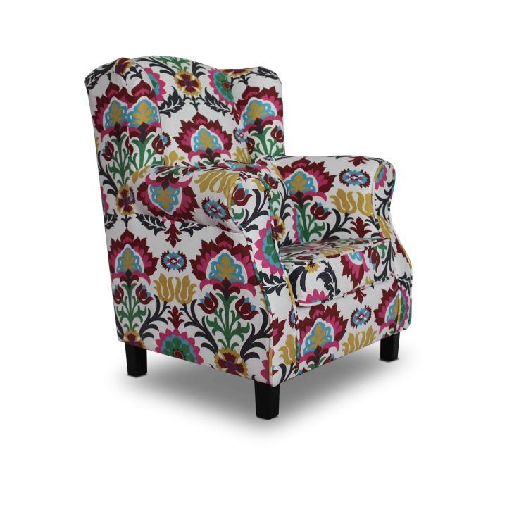 Fotel, virágmintás szövet, MELA