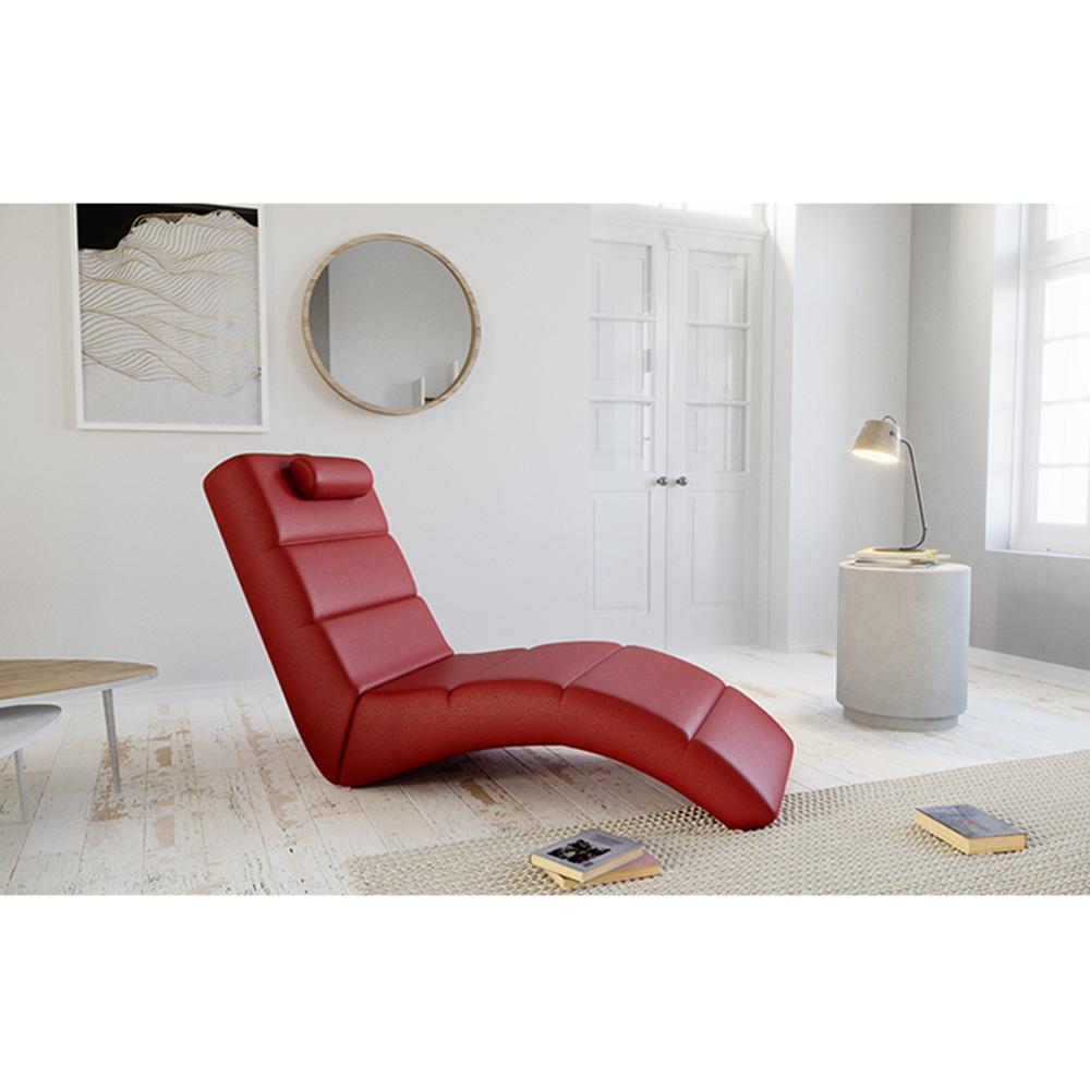 Relaxační křeslo, ekokůže červená, LONG, TEMPO KONDELA