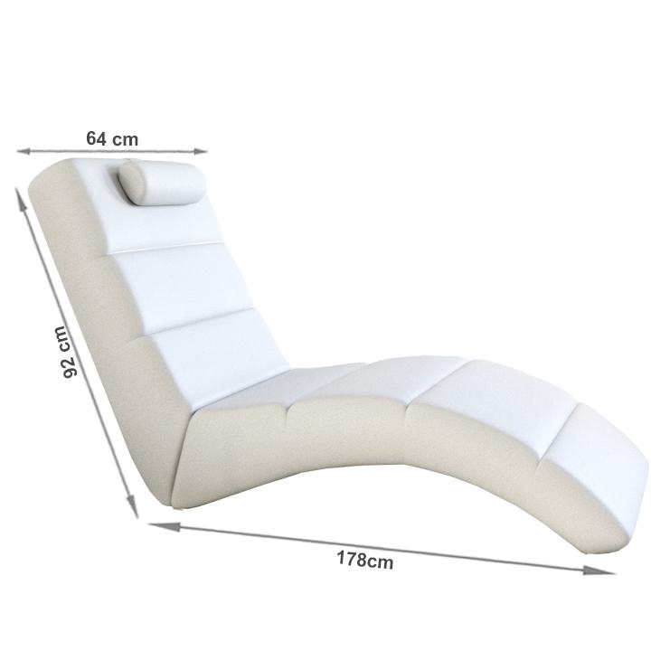 Relax fotel, fehér öko bőr, LONG
