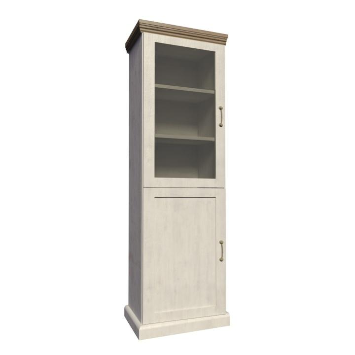 Vitrína dvojdverová, s presklennými dverami, sosna nordická/dub divoký, ROYAL W1D