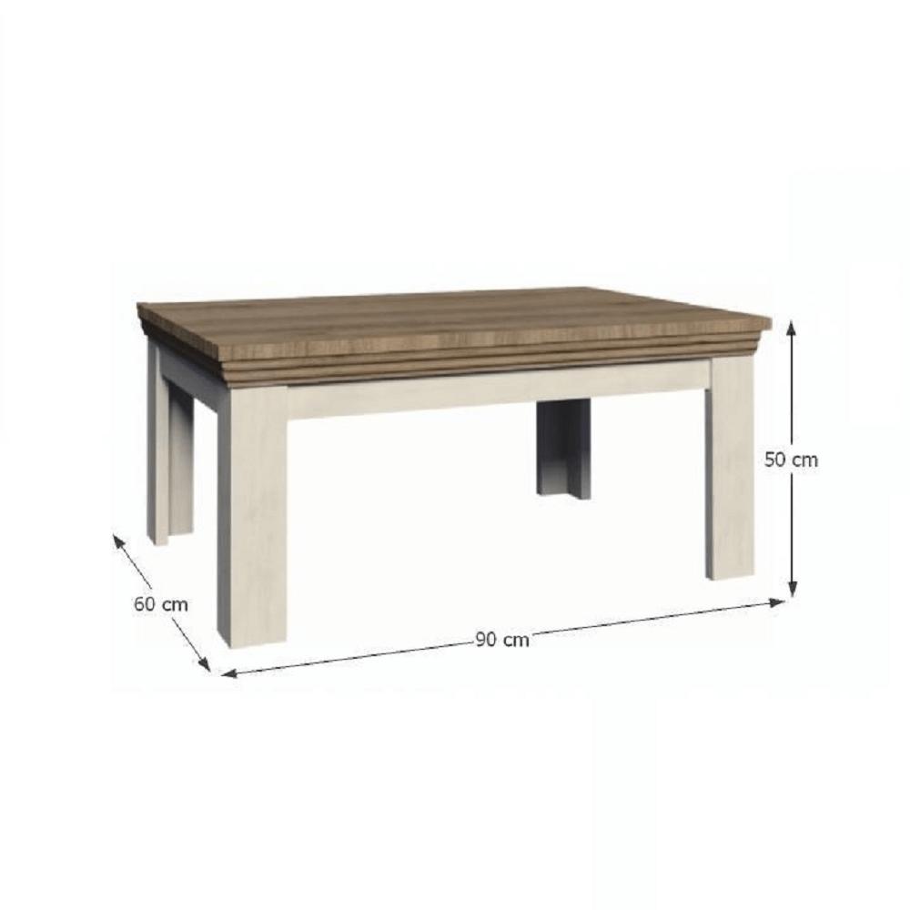 Konferenčný stolík, sosna nordická/dub divoký, ROYAL LN
