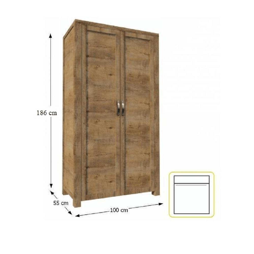 Szekrény 2-ajtós akasztós, tölgyfa lefkas, NEVADA
