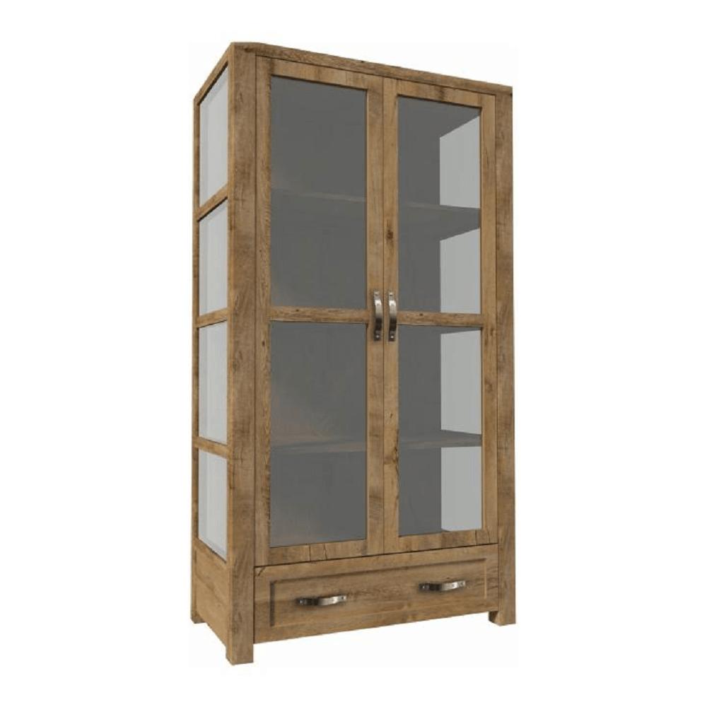 Trojstranná vitrína W2D, dub lefkas, NEVADA