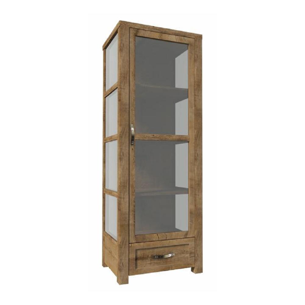 Háromoldalú vitrín szekrény W1D, tölgyfa lefkas, NEVADA