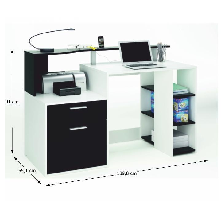 TEMPO KONDELA PC stôl, biela/čierna, MERAKLE - Tempo nábytek