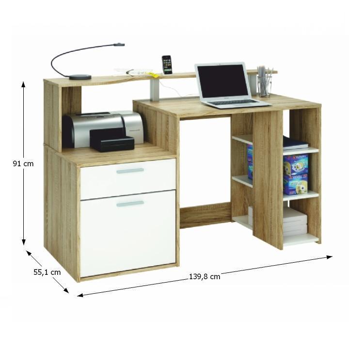 TEMPO KONDELA PC stôl, biela/dub sonoma, MERAKLE - Tempo nábytek