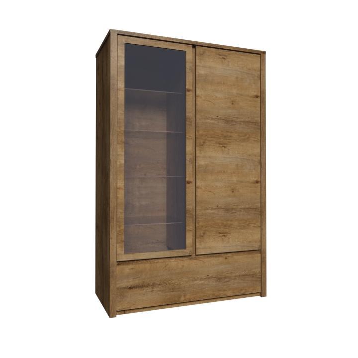 Vitrína s jednou zásuvkou a predelenými dverami - plnými a presklenými, dub lefkas, MONTANA W1S