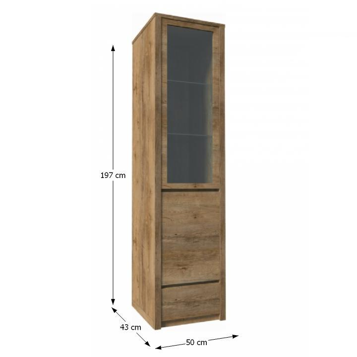 Vitrín szekrény 1- kihúzható fiókkal és osztot ajtóval ? teljessen üvegezett, tölgyfa lefkas, MONTANA W1D