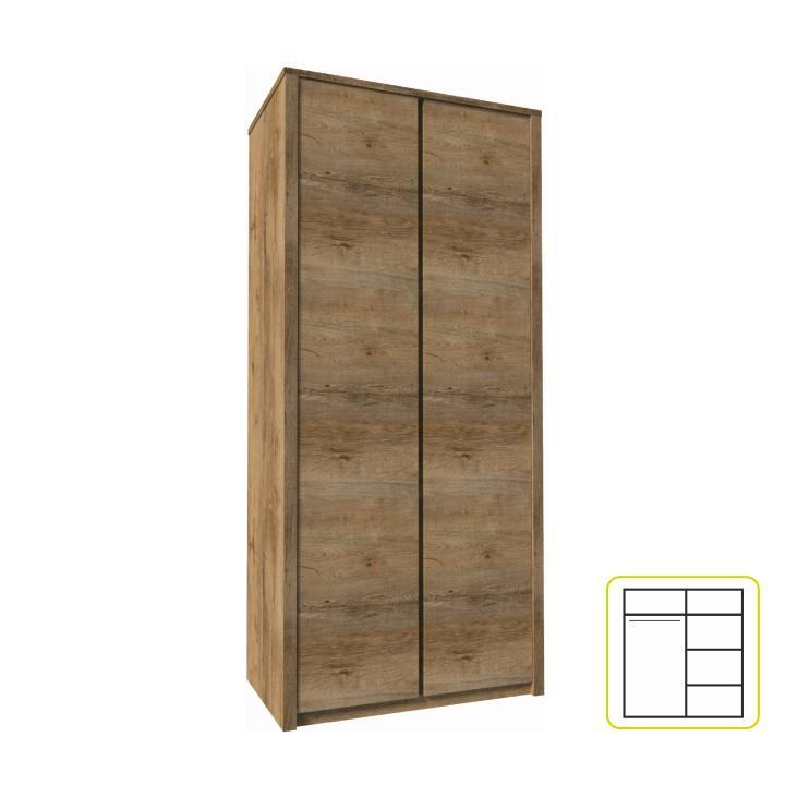 Szekrény 2-ajtós, lefkas tölgyfa, MONTANA S2D