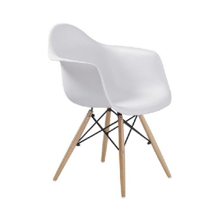 Stolička - kreslo, biela+buk, DAMEN NEW