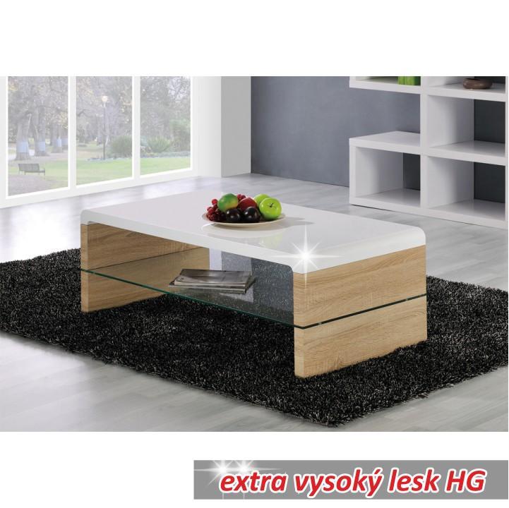 Konferenčný stolík, dub sonoma/biela extra vysoký lesk HG, KONTEX NEW