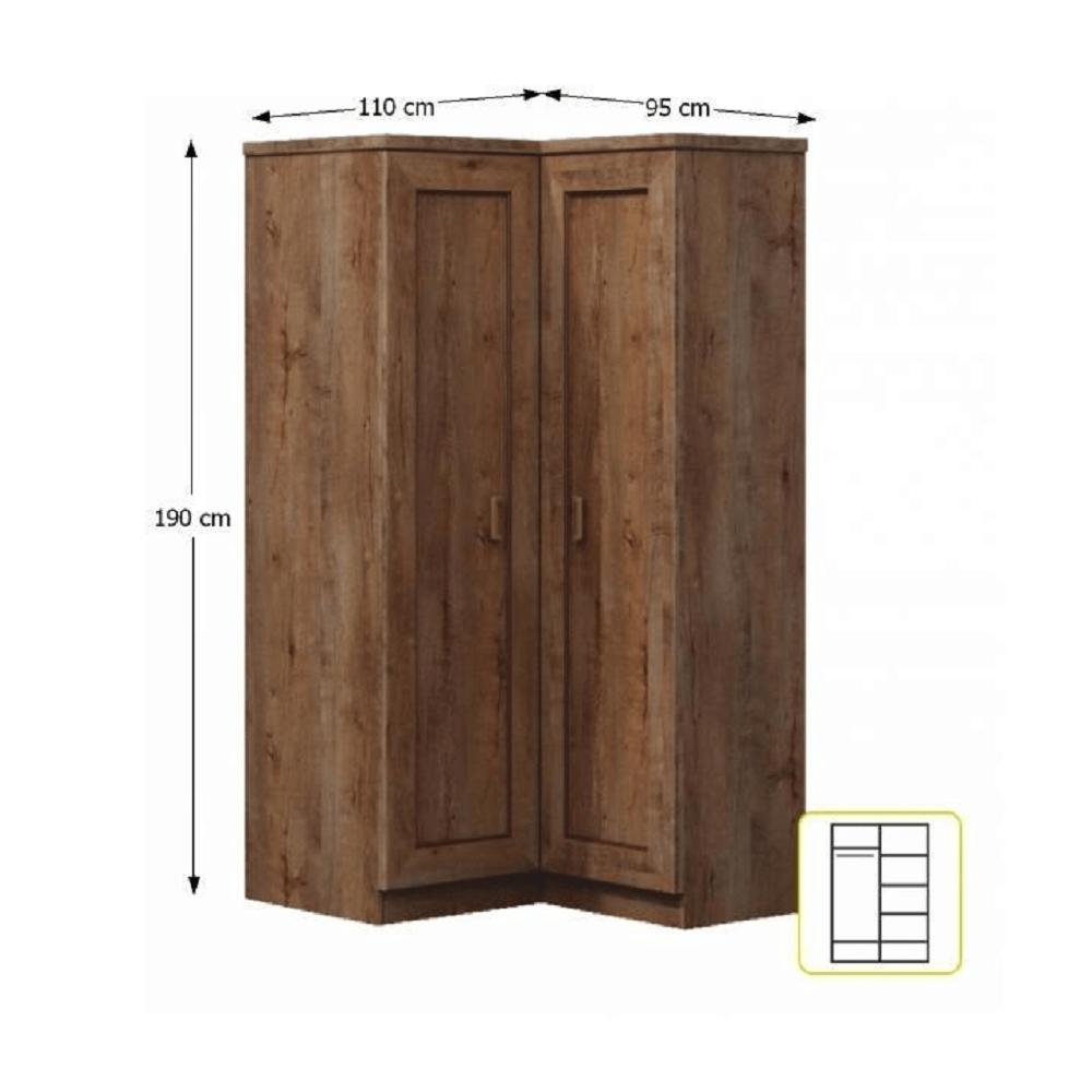 Sarokszekrény polccal, bal oldali változat, tölgyfa lefkas, TEDY TYP T25