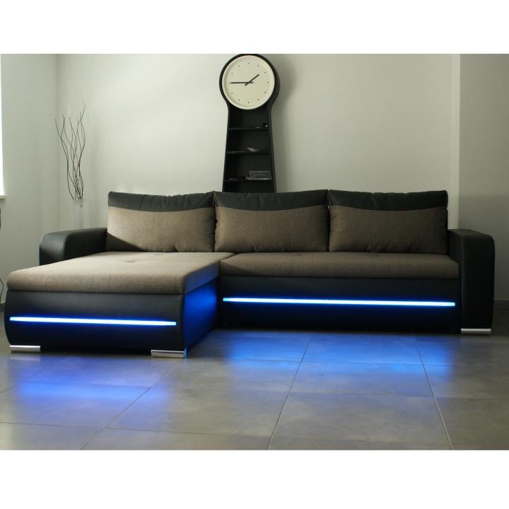 Rohová sedacia súprava s LED osvetlením, ľavé prevedenie, rozklad/uložný priestor, ekokoža čierna/látka Portland 23 hnedá, KODY
