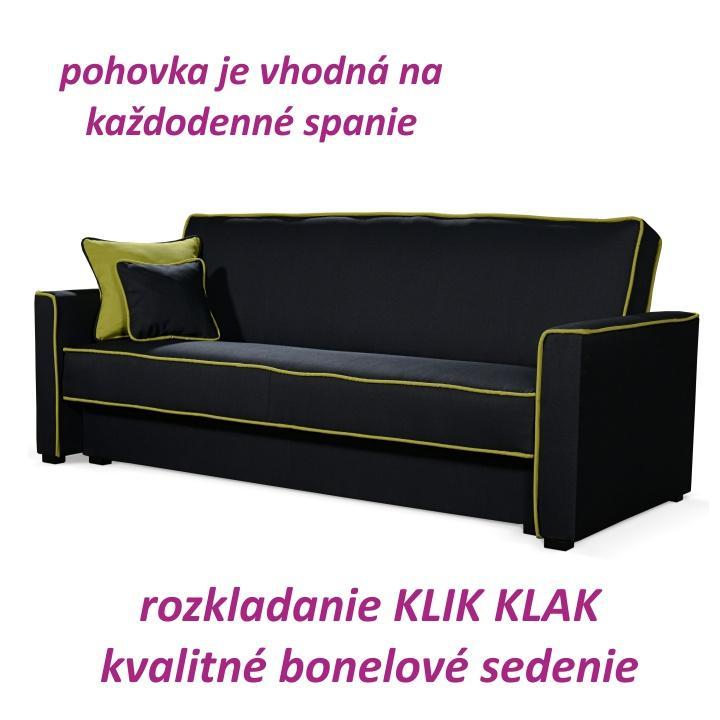 Kanapé ágyfunkcióval és ágyneműtartóval,szövet fekete/neon, LUMIA