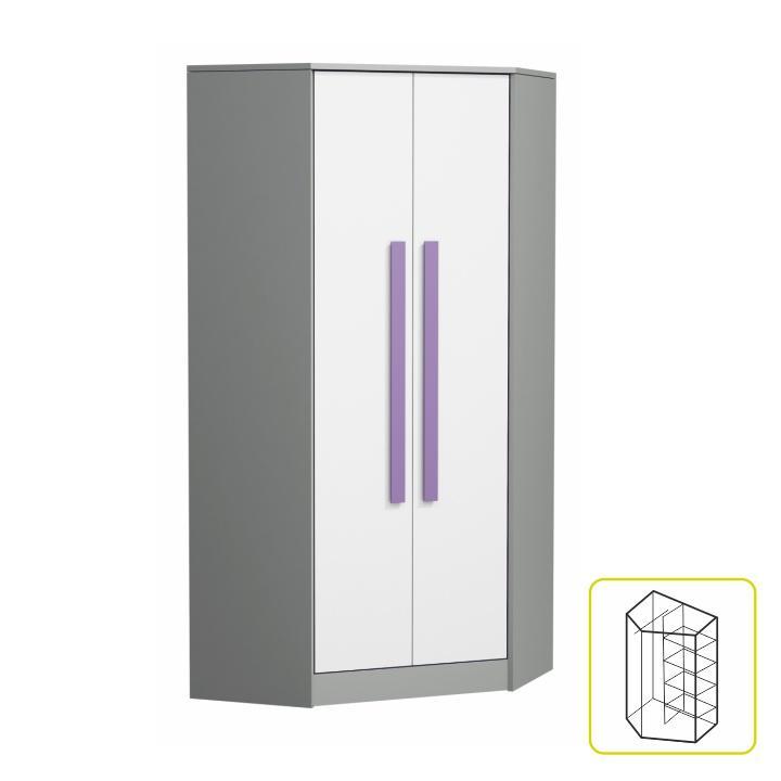 Rohová kombinovaná skriňa, biela/sivá/fialová, PIERE P02