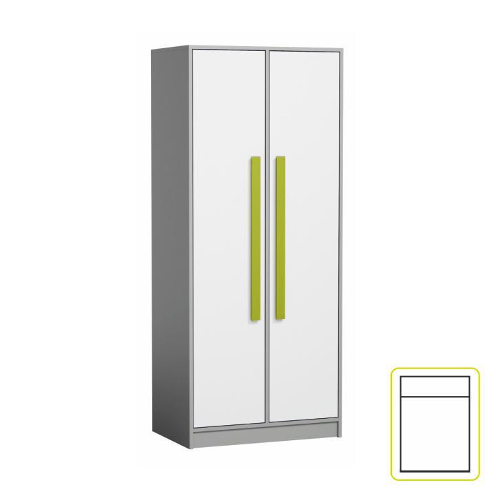 Akasztós szekrény, fehér/szürke/zöld, PIERE P01