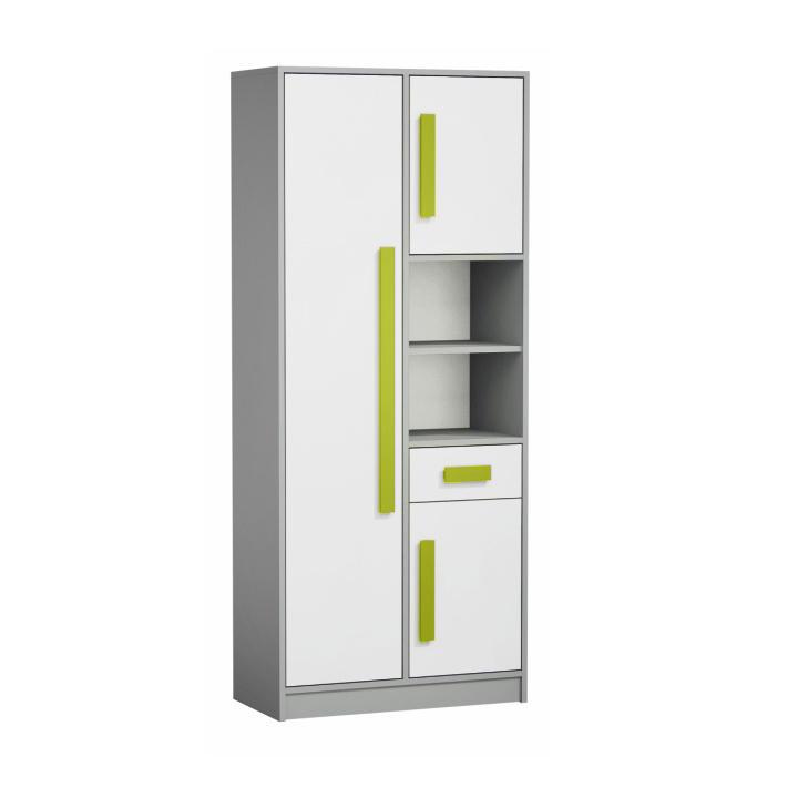 Kombinált szekrény, fehér/szürke/zöld, PIERE P03