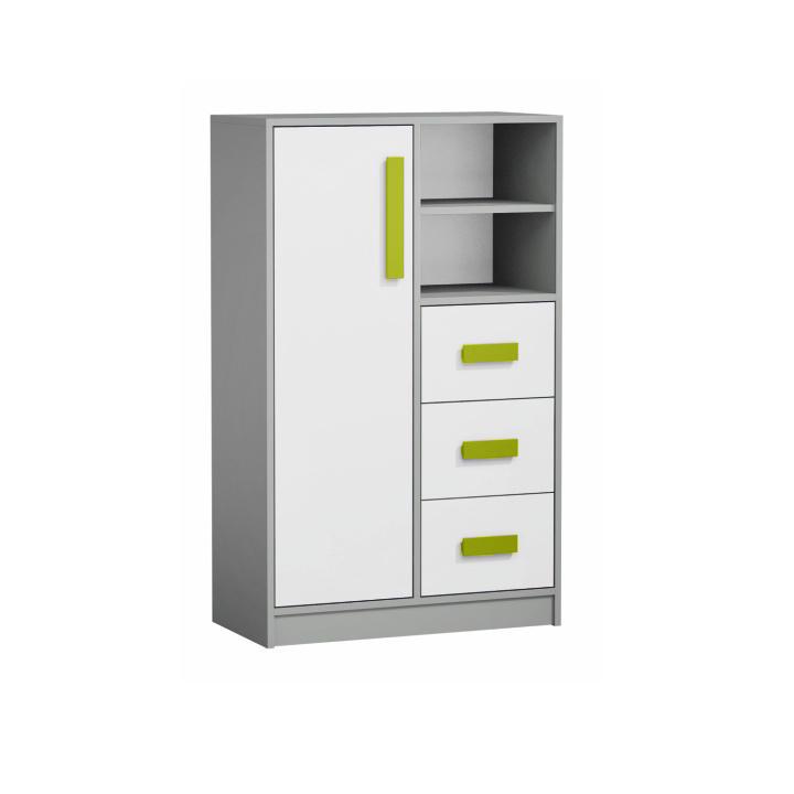Vysoká kombinovaná komoda, biela/sivá/zelená, PIERE P05