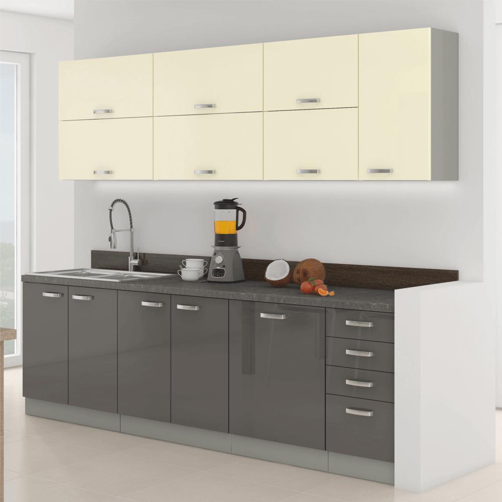 Kuchyňská linka, šedá / krémová, extra vysoký lesk, PRADO, TEMPO KONDELA