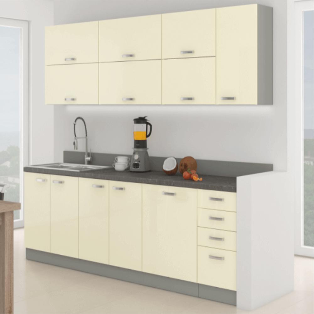 Kuchyňská linka, krémová extra vysoký lesk / šedá, PRADO, TEMPO KONDELA