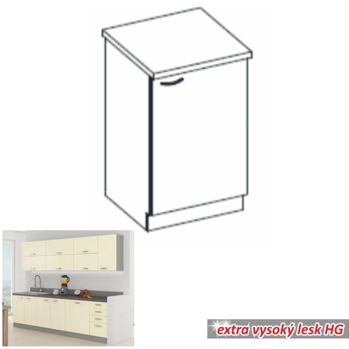 Alsó szekrény, krémszínű magas fényű fehér, PRADO 60 D 1F ZB