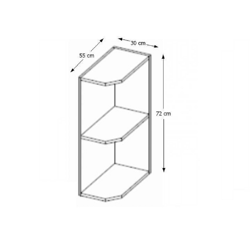 Rohová skříňka s policemi, dolní, šedá, PRADO 30 D ZAK BB