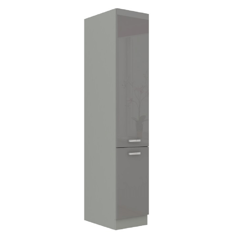 Magas kétajtós szekrény, szürke magasfényű/szürke, PRADO 40 DK-210