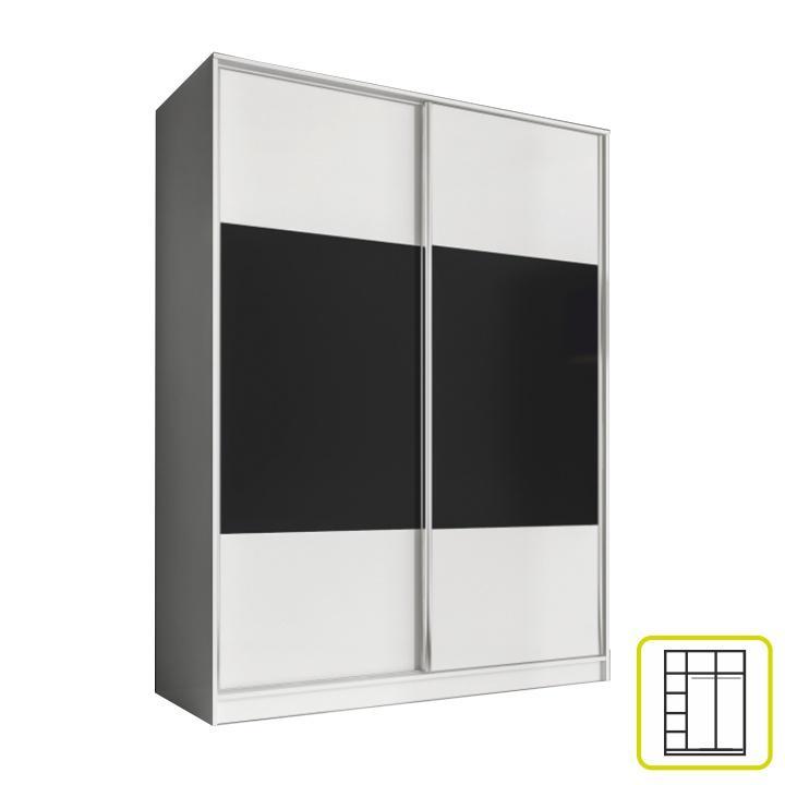 Skriňa dvojdverová kombinovaná, šírka 160 cm, biela/čierna, AVA
