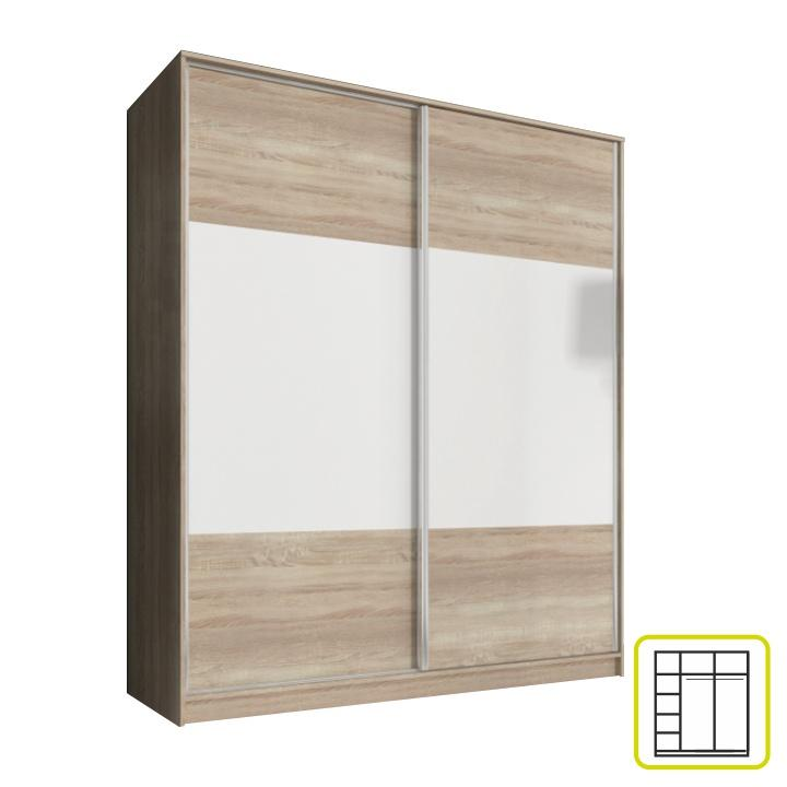 Skriňa dvojdverová kombinovaná, šírka 180 cm, dub sonoma/biela, AVA