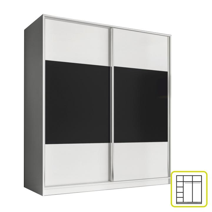 Skriňa dvojdverová kombinovaná, šírka 180 cm, biela/čierna, AVA