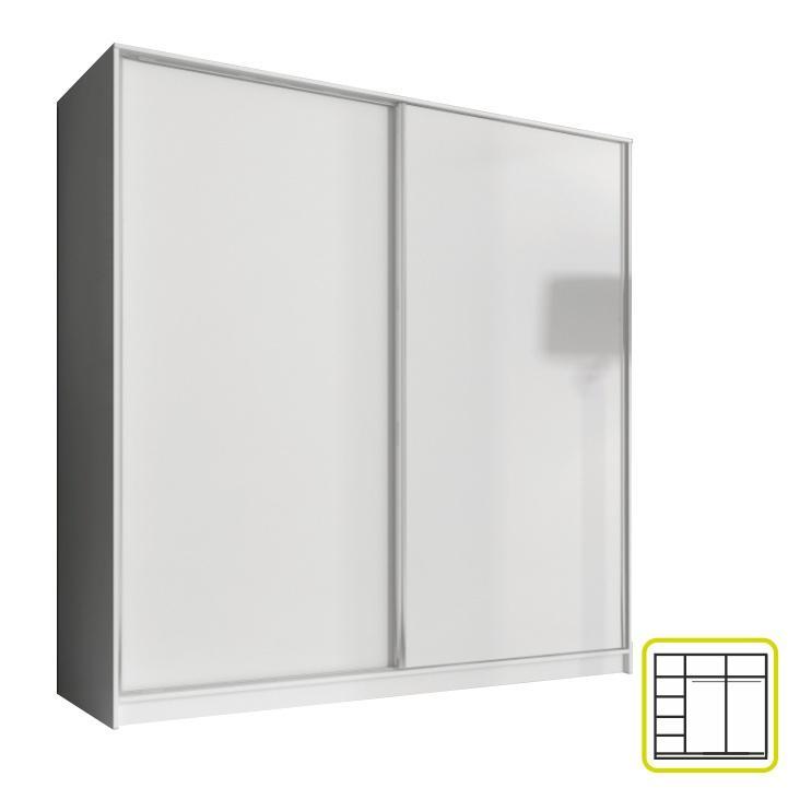 Skriňa dvojdverová kombinovaná, šírka: 200 cm, biela, AVA