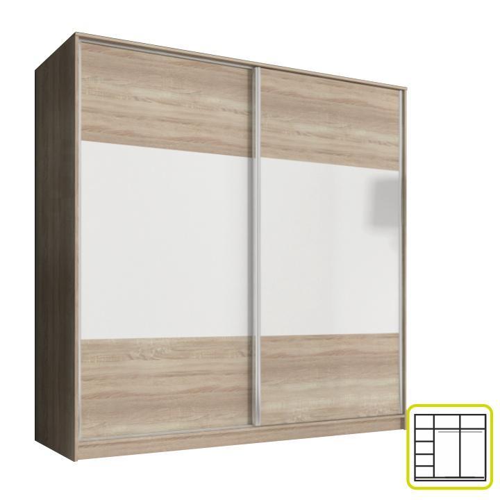 Skriňa dvojdverová kombinovaná, šírka: 200 cm, dub sonoma/biela, AVA