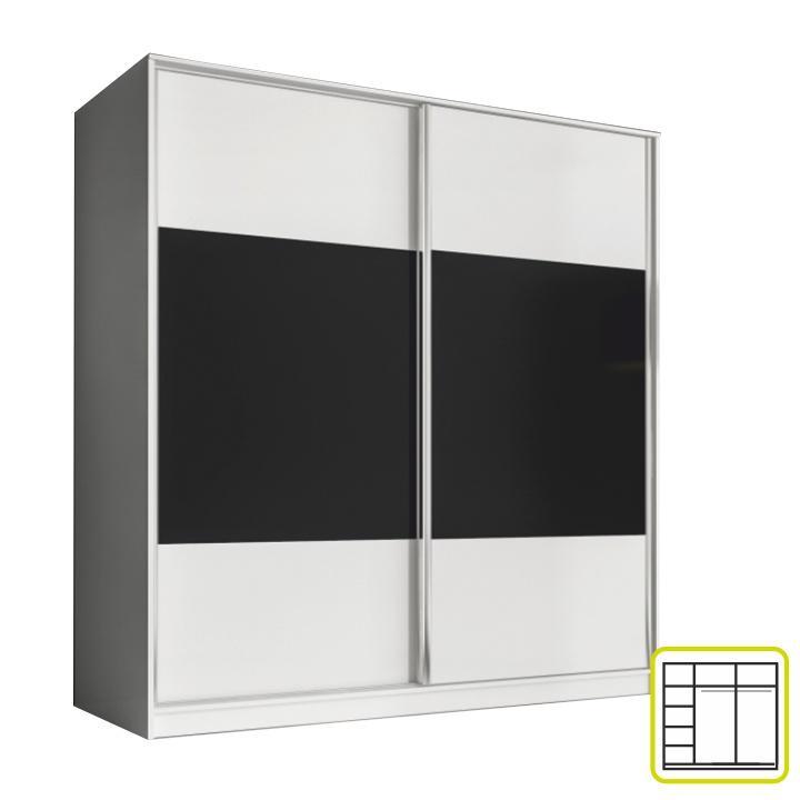 Skriňa dvojdverová kombinovaná, šírka: 200 cm, biela/čierna, AVA