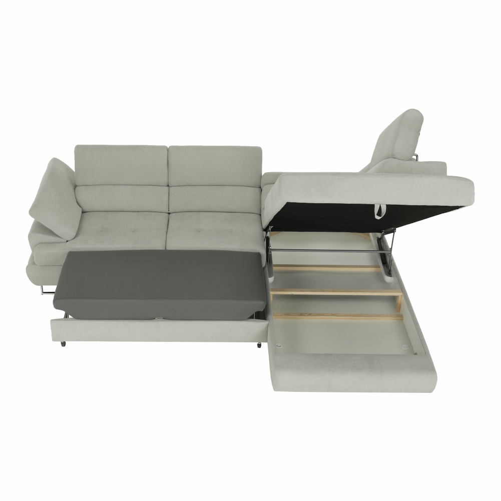 Rozkládací sedací souprava, látka světle šedá, pravá, Buton R, TEMPO KONDELA
