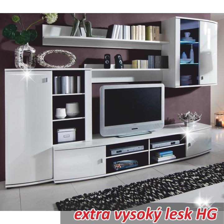 Obývacia stena, biela/vysoký biely lesk HG, LINE 1VB