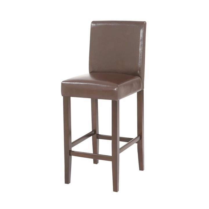 Stolička barová, text. koža PU/drevené nohy, tmavo hnedá, MONA NEW