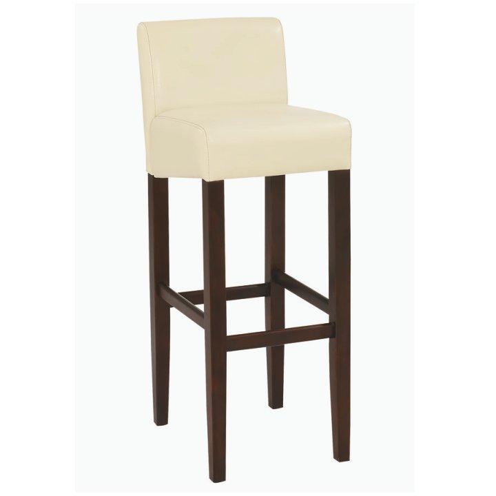 Barová stolička, textilná koža krémová/drevo tmavý orech, SORIN NEW